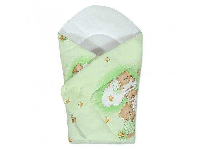 Detská zavinovačka New Baby zelená s medvedíkom