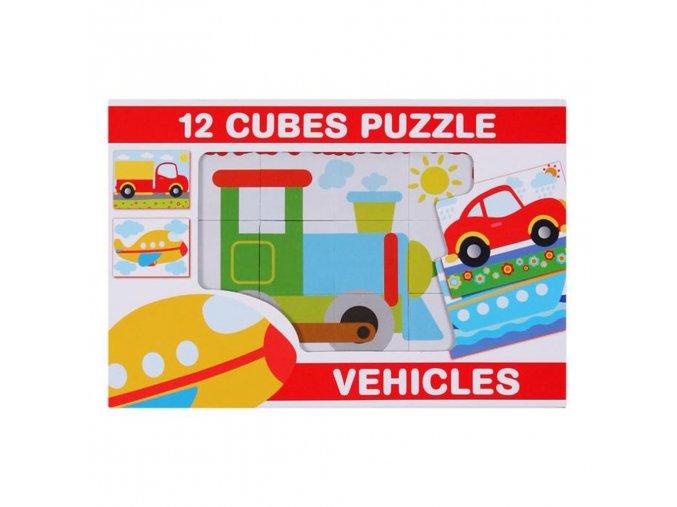 Skladacie obrázkové kocky 12 ks vozidla