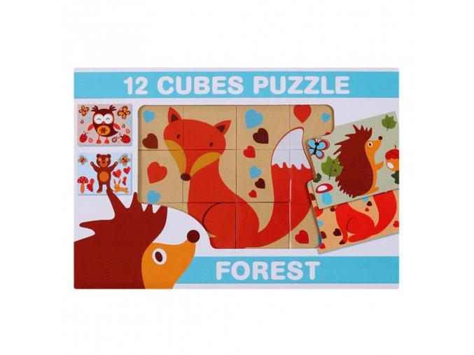Skladacie obrázkové kocky 12 ks lesné zvieratá