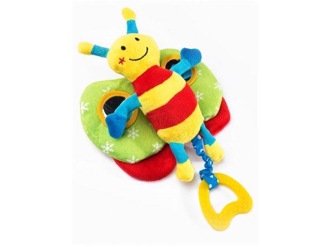 Edukačná plyšová hračka Sensillo motýlik s pískatkom