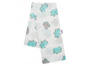 Bavlnená plienka s potlačou New Baby biela puzzle tyrkysové