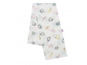 Bavlnená plienka s potlačou New Baby biela sovy rúžové