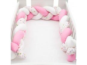 Ochranný mantinel do postieľky vrkoč New Baby Vtáčiky ružovo-biely