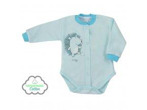 Dojčenské body celorozopínacie z organickej bavlny Koala Lesný Priateľ modré