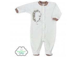 Dojčenský overal z organickej bavlny Koala Lesný Priateľ béžový
