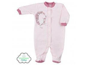 Dojčenský overal z organickej bavlny Koala Lesný Priateľ ružový