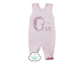 Dojčenské dupačky z organickej bavlny Koala Lesný Priateľ ružové