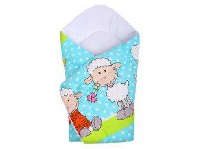 Detská zavinovačka New Baby tyrkysová s ovečkou