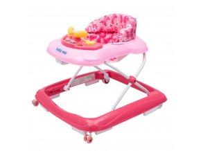 Detské chodítko Baby Mix s volantom a siikónovými kolieskami dark pink