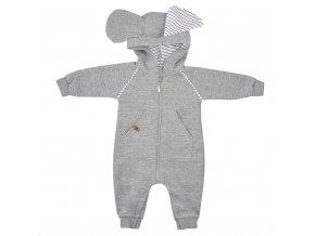 Dojčenský overal s kapucňou Koala Ušiačik svetlo sivý