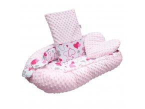 Luxusné hniezdočko s vankúšikom a perinkou New Baby z Minky ružové srdiečka