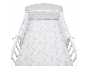 3-dielne posteľné obliečky New Baby 90/120 cm Pierka ružové