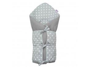 Klasická šnurovacia zavinovačka New Baby Vafle sivá biele bodky