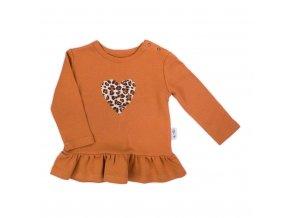 Dojčenské bavlnené tričko Nicol Mia hnedé
