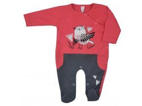 Dojčenský bavlnený overal Koala Birdy tmavo ružový