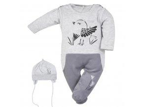 3-dielna bavlnená detská súprava Koala Birdy sivá