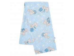 Bavlnená plienka s potlačou New Baby modrá medvedík a srdiečko