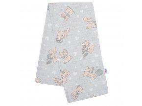 Bavlnená plienka s potlačou New Baby sivá medvedík a srdiečko