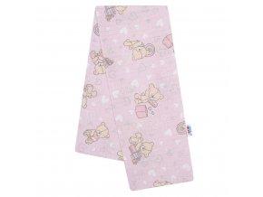Bavlnená plienka s potlačou New Baby ružová medvedík a srdiečko