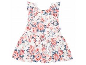 Dojčenské letné bavlnené šatôčky New Baby Roses smotanovo-ružové