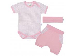 3-dielna letná bavlnená súprava New Baby Perfect Summer svetlo ružová