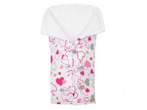 Klasická šnurovacia zavinovačka New Baby JACKET ružové srdiečka