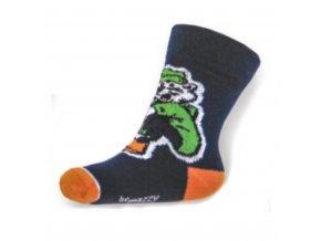 Detské bavlnené ponožky New Baby tmavo modré medvedík