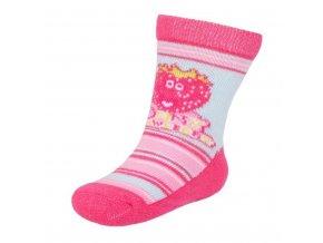 Detské ponožky New Baby s ABS ružovo-modré strawberry