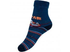 Detské froté ponožky New Baby s ABS tmavo modré car