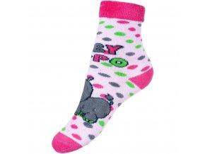 Detské froté ponožky New Baby s ABS ružové hippo