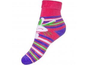 Detské froté ponožky New Baby s ABS ružové zajáčik