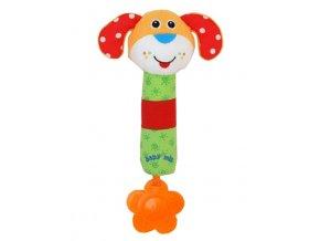 Detská pískacia plyšová hračka s hrkálkou Baby Mix psík