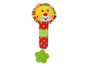 Detská pískacia plyšová hračka s hrkálkou Baby Mix lev