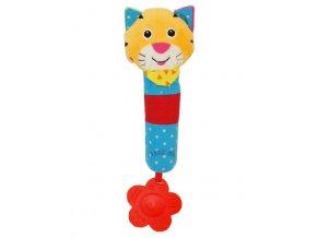 Detská pískacia plyšová hračka s hrkálkou Baby Mix tiger