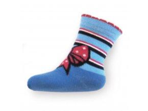 Detské bavlnené ponožky New Baby modré s mašličkou