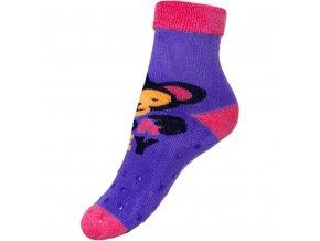 Detské froté ponožky New Baby s ABS fialové s opicou