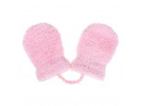 Detské zimné rukavičky New Baby so šnúrkou svetlo ružové