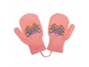 Detské zimné rukavičky New Baby s motýlikom ružové