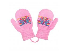 Detské zimné rukavičky New Baby s motýlikom svetlo ružové