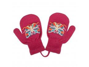 Detské zimné rukavičky New Baby s motýlikom tmavo ružové