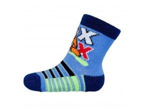 Dojčenské ponožky New Baby s ABS modré s liškou