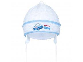Pletená detská čiapočka New Baby Speed bielo-modrá