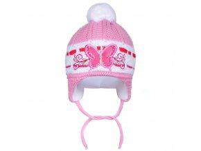 Zimná detská čiapočka New Baby motýlik tmavo ružová