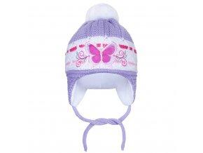Zimná detská čiapočka New Baby motýlik fialová