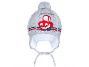 Zimná detská čiapočka New Baby autíčko sivá