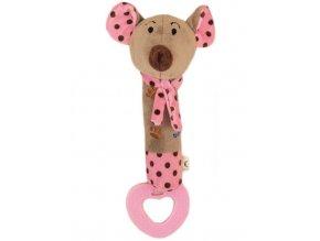 Detská pískacia plyšová hračka s hryzátkom Baby Mix myšky ružová