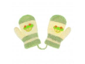 Detské rukavičky New Baby s autom zeleno-béžové