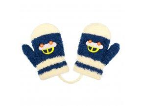 Detské zimné rukavičky New Baby s autom modro-béžové