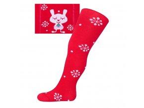 Vianočné bavlnené pančucháčky New Baby červené s vločkami a mačičkou