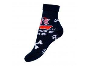 Detské froté ponožky New Baby tmavo modré kosti